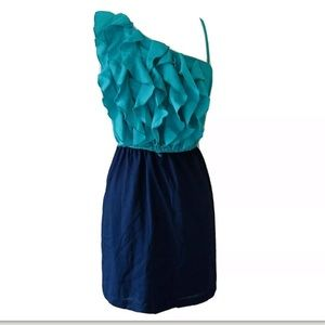 Teeze Me Blue One Shoulder Dress Size 9